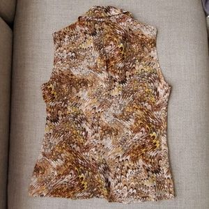 Celine Tops - CELINE Silk Chiffon Printed Sleeveless Blouse 42